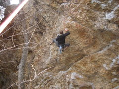 Rock Climbing Photo: Hook your heels onto the side flakes for a brief r...
