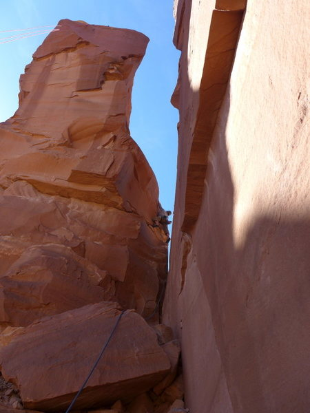 Scott about to round the corner on the crux pitch