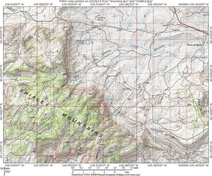 MAP 1:  Shirley Mountains access from jct 487/77 21.5 miles north of Medicine Bow, WY.