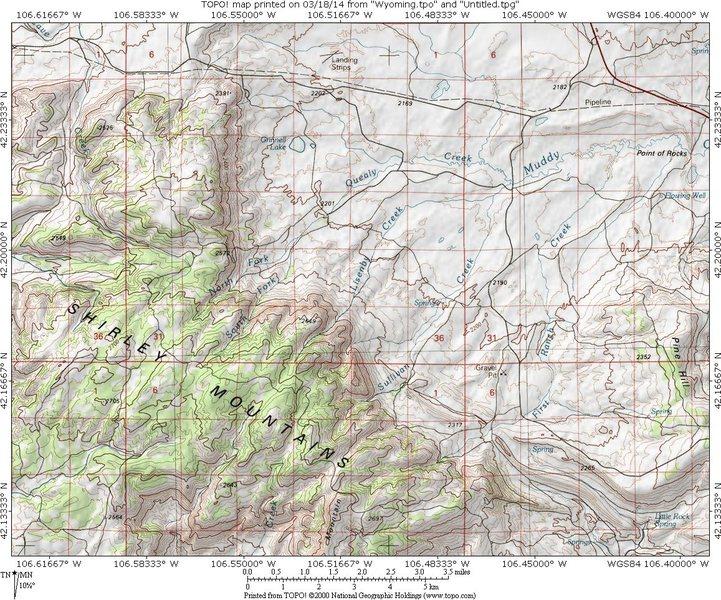 Rock Climbing Photo: MAP 1:  Shirley Mountains access from jct 487/77 2...