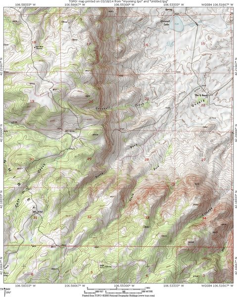 MAP 2:  A topo map of the NE facing escarpment of the Shirley Mountains and BLM Rd 3115.