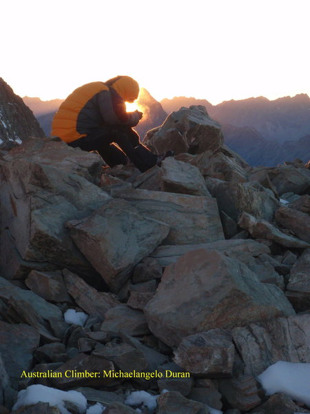 Rock Climbing Photo: Catching the morning heat.. while having early bf