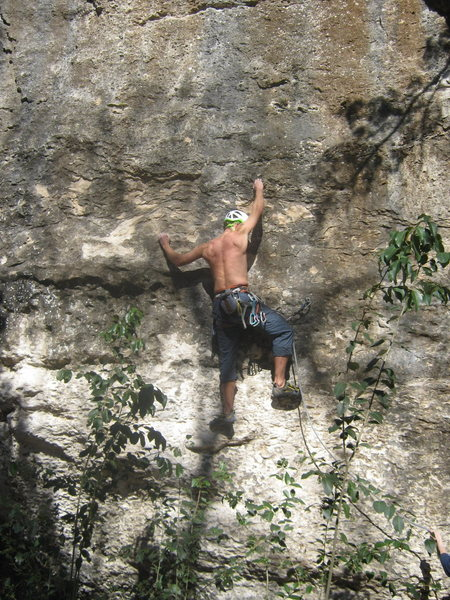 Rock Climbing Photo: Andrew past first bolt on La Campanita.