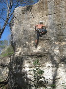 Rock Climbing Photo: Andrew moving past 2nd bolt on La Campanita on ste...