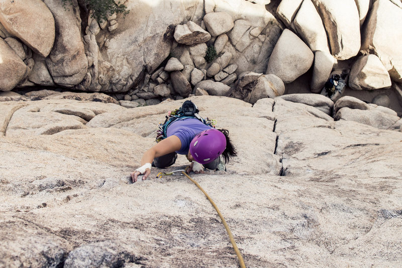 Rock Climbing Photo: Helen nearing the top, the step left after this is...