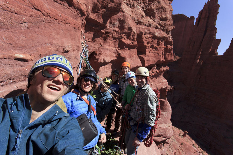 7 people on the belay ledge atop pitch 2.