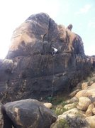 Rock Climbing Photo: Climber on looking for jugs...