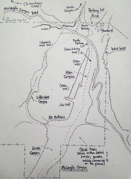Rock Climbing Photo: McLoughlin Canyon Main/South Canyon map.