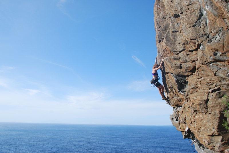 Sue climbing Suficiente at Vistamar, Tenerife.