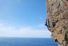 Rock Climbing Photo: Sue climbing Suficiente at Vistamar, Tenerife.