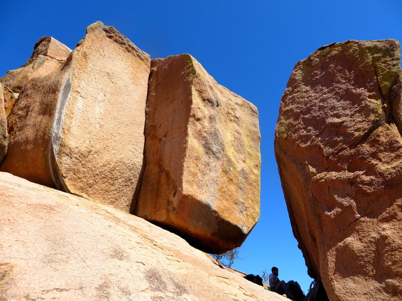 South American Crack in the dihedral on the left, Amazon Boulder on the right