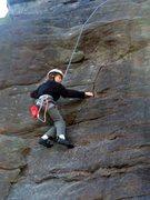 Rock Climbing Photo: Tyler starting up Sidewinder.