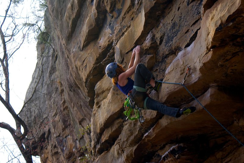 Pulling the first little bouldery sequence
