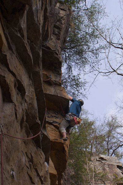 Bryan moving around the little arete.