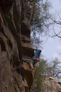 Rock Climbing Photo: Bryan moving around the little arete.
