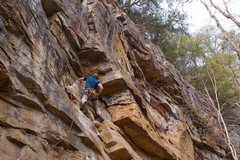 Rock Climbing Photo: Finishing the first half of the traverse