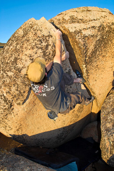 Rock Climbing Photo: Sean Carlson Sends the V3 Left Crack...