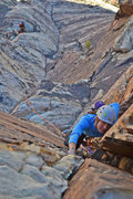 Rock Climbing Photo: Paisley Close leading Pitch 3 of Schaeffer's Delig...