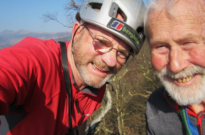 Two elderly chaps out on the rocks .March 2014.. English Lake District . PR and CB.