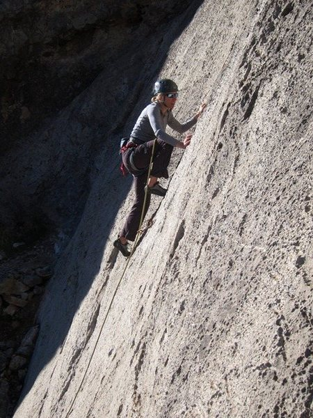 Rock Climbing Photo: Slabbin' up the start to Crime and Punishment.  Am...