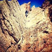 Rock Climbing Photo: Crynoid Corner, 5.7, Cactus Cliffs, Shelf Road.