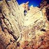 Crynoid Corner, 5.7, Cactus Cliffs, Shelf Road.