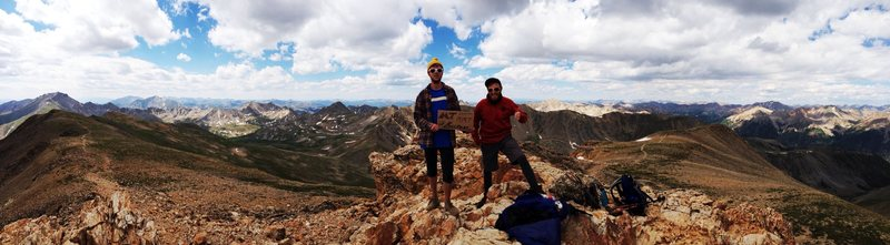 Mt. Belford summit with Riley Reed.