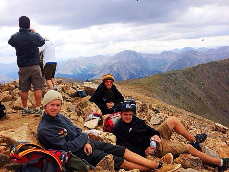 Summit of Mt. Elbert with Riley Reed and Chris Young. First 14er for us, a memory never lost.