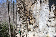 Rock Climbing Photo: The lower, juggy section of the route
