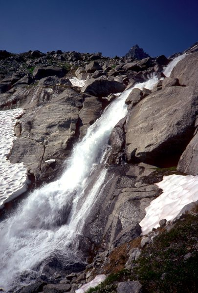Waterfall, coming from Mulvey Lake