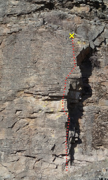 Stink Foot follows the edge of the arete and right side of the face above.