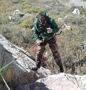 Rappelling close up
