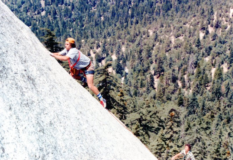Rock Climbing Photo: Alan Busby on Grace Slick at the P2 crux around 19...