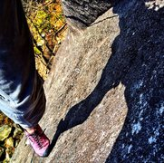 "Rock Climbing Photo: Above the second pitch ramp on ""batskins&quot..."