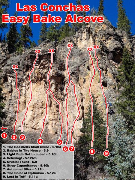 Rock Climbing Photo: Easy Bake Alcove topo