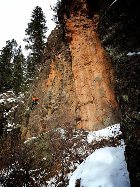 George getting warmed up (or maybe not, actually) on a snowy February day. Alpine sport climbing.