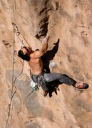 Rock Climbing Photo: Going big for the sloper through the crux of Schwi...