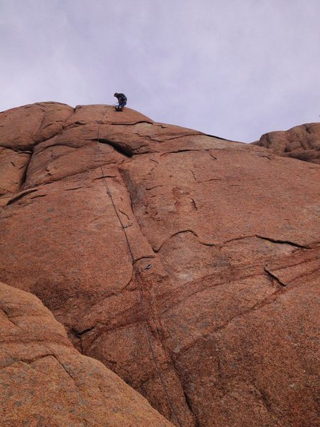 Rock Climbing Photo: Me near the top of Worm Hole. Route's presumptive ...