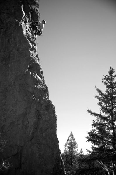 Rock Climbing Photo: Fred climbing through the overlap/roof of Lost in ...