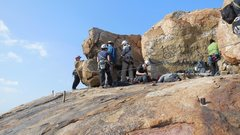 Rock Climbing Photo: On the south shoulder of Joe Brown Boulder.