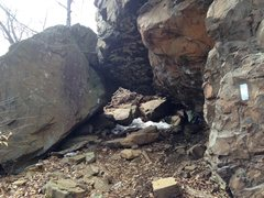 Rock Climbing Photo: The boulder cave from below