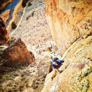 Rock Climbing Photo: JWW on the upper slab of P1.