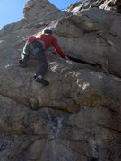 Rock Climbing Photo: Chris Owen top roping through the crux.