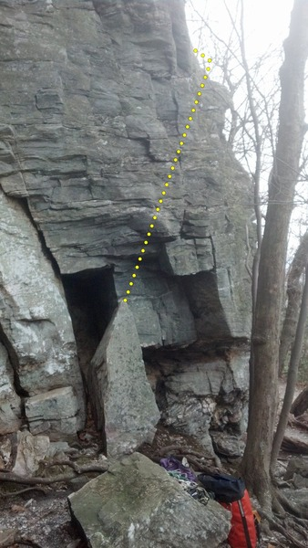 Rock Climbing Photo: Direct start of Too Much Fun. Climb up and to the ...
