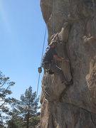 Rock Climbing Photo: Ben top roping through the lie back.
