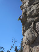 Rock Climbing Photo: Ben surmounts the crux roof.