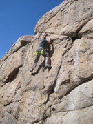 Rock Climbing Photo: Ben past the crux and about to tackle that sloping...