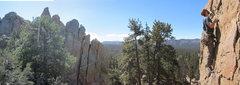 Rock Climbing Photo: Medicine Man panorama with Ben leading.