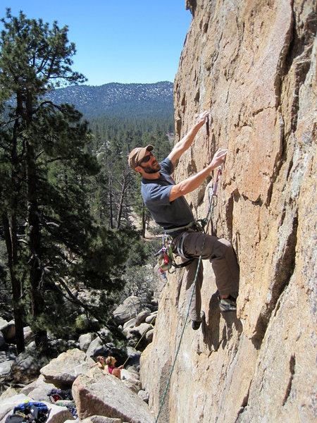 Ben having fun on this steep intro to Thunderbird Wall.