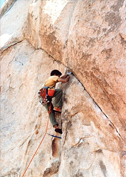 Double Cross in 1980 just below the bulge crux. As I recall, a No. 10 hex fit perfect in the main crack just above the diagonal crack.